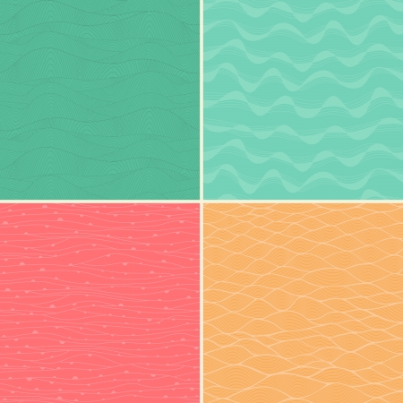 Set of four seamless abstract hand-drawn pattern, waves background. Each square pattern has the ability to be repeated or tiled without visible seams. Vector
