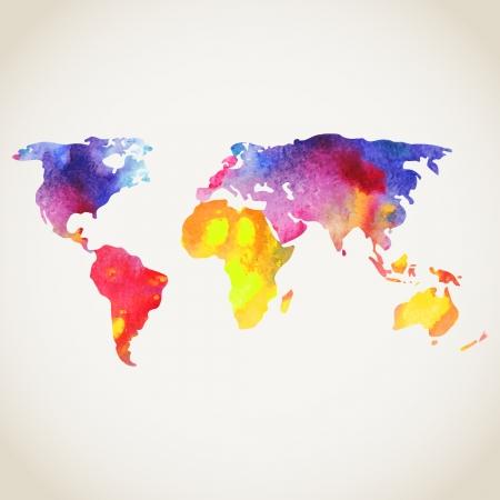Mundial mapa vectorial pintado con acuarelas, pintadas mapa del mundo sobre fondo blanco.
