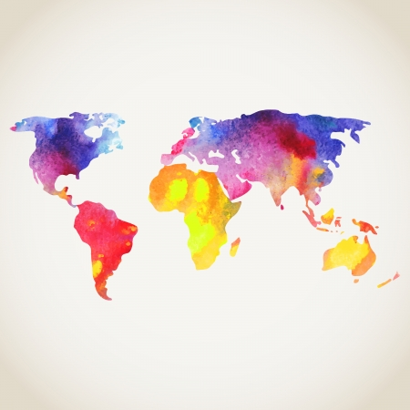 asia map: World vector map painted with watercolors, painted world map on white background. Illustration