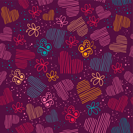 Seamless pattern with hearts, and butterflies.Copy square to the side and youll get seamlessly tiling pattern which gives the resulting image ability to be repeated or tiled without visible seams.