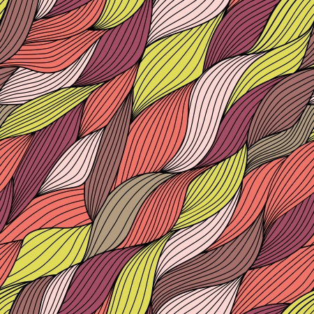 Seamless tangled pattern, waves background. Copy square to the side and you'll get seamlessly tiling pattern which gives the resulting image ability to be repeated or tiled without visible seams. Ilustração