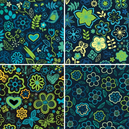 Set of four colorful floral patterns.Copy square to the side and you'll get seamlessly tiling pattern which gives the resulting image ability to be repeated or tiled without visible seams. Vector