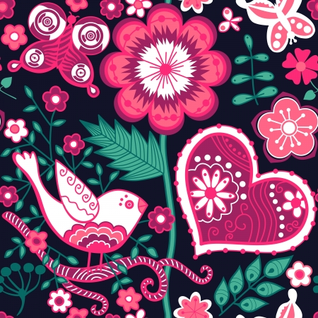 Seamless floral pattern. Copy square to the side and you'll get seamlessly tiling pattern which gives the resulting image ability to be repeated or tiled without visible seams. Vector
