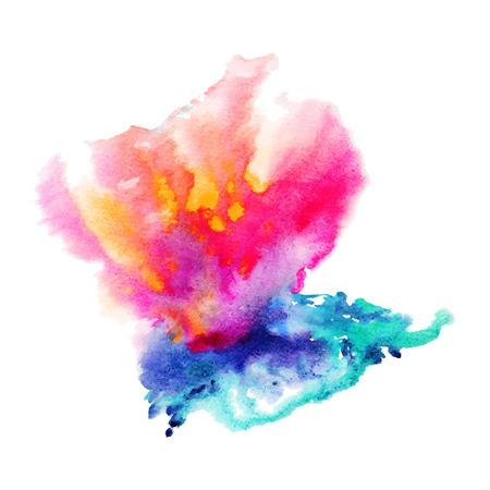手描きの抽象的な水彩画の背景、ベクトル図、ステイン水彩色湿った紙にウェットします。テキスト メッセージのための空のスペースでスクラップ