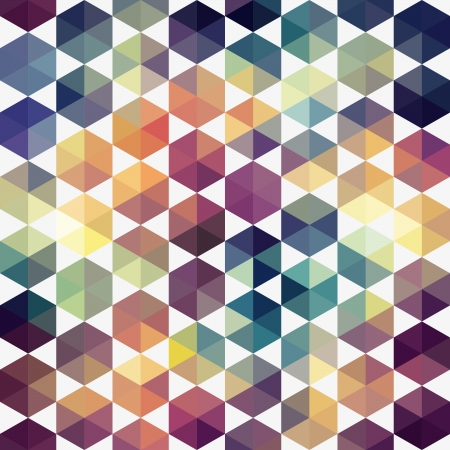 parallelepiped: Retro pattern of geometric shapes. Triangle colorful mosaic backdrop. Geometric hipster retro background, place your text on the top of it. Retro triangle background.