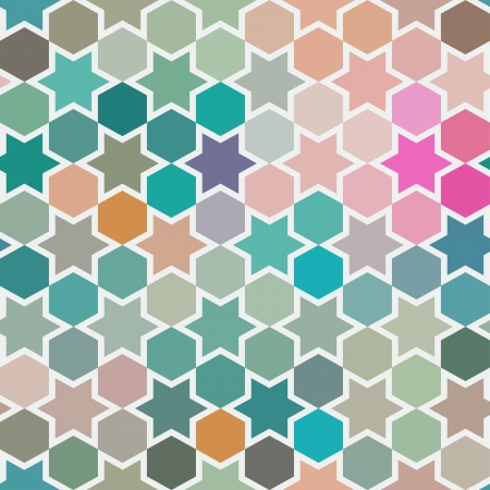 christmas wrapping: Background of repeating geometric stars. Spectrum geometric background. Retro hipster color spectrum background. Square composition with geometric color flow effect.