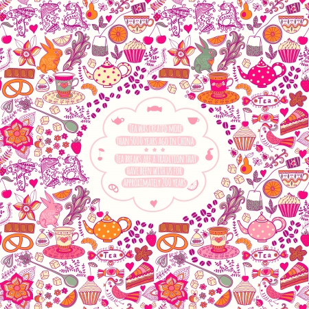 Tea time template design, vector set.Vector illustration made of sweets. Retro card made of candy, sweets, tea lettering and tea things. Bright summer outlines made from tea things. Lets tea! Vector