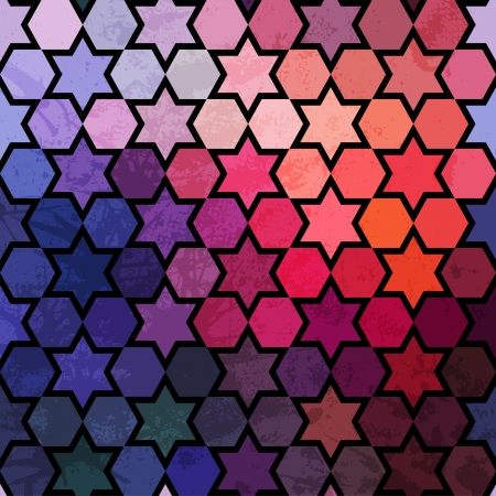 Background of repeating geometric stars. Spectrum geometric background. Retro hipster color spectrum background. Square composition with geometric color flow effect. Vector