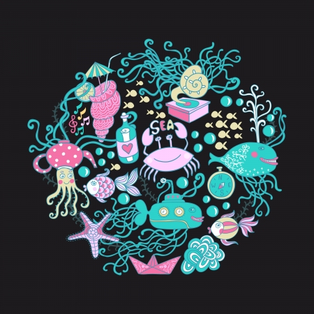Vector illustration of circle made of sea life elements. Bright summer outlines made from sea things - fish, crab, octopus, submarine, sea weed. Maritime template. Vector
