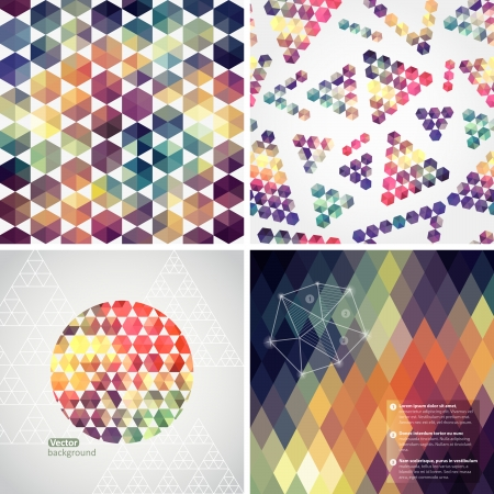 Retro pattern of geometric shapes. Colorful mosaic banners. Geometric hipster retro background with place for your text. Retro triangle background. Set of four geometric templates. Vector