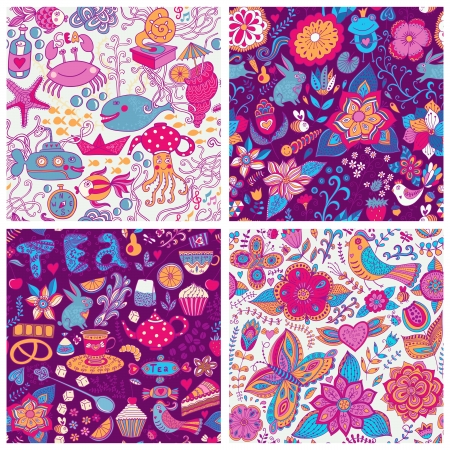 Set of four colorful floral vector pattern.Copy each square to the side,you'll get seamlessly tiling pattern which gives the resulting image the ability to be repeated or tiled without visible seams. Vector