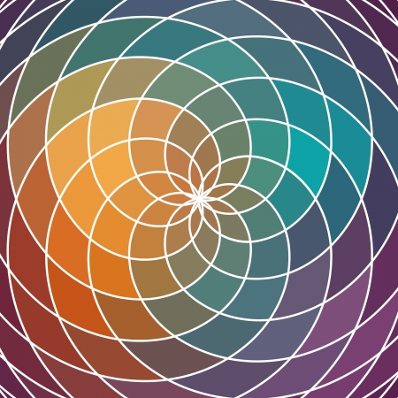 concentric circles: Mosaic spectrum color wheel made of geometric shapes. Rainbow color spectrum background. Square composition with geometric color flow effect.