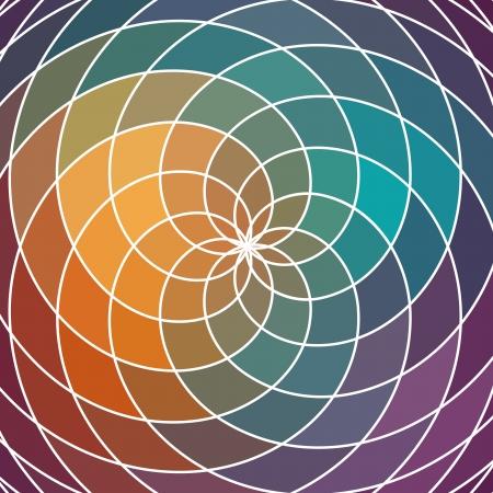 circulos concentricos: Mosaico rueda de colores del espectro hecho de formas geométricas. Arco iris de fondo del espectro de color. Plaza de la composición con efecto Doppler color geométrica.