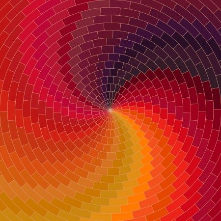 circulos concentricos: Rueda Spectrum hecha de ladrillos. Rainbow espectro de color de fondo del grunge. Plaza de la composición con efecto Doppler color geométrica. ? Rueda de olor