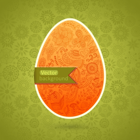 Easter egg made of flowers, floral Easter egg background Vector