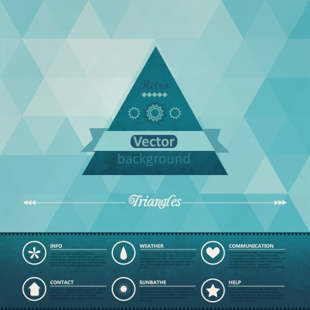 Triangle seamless background. Retro label design. Infographics composition with geometric shapes. Seamless pattern on the back is complete. Vector file has few layers for easy using. Ilustração