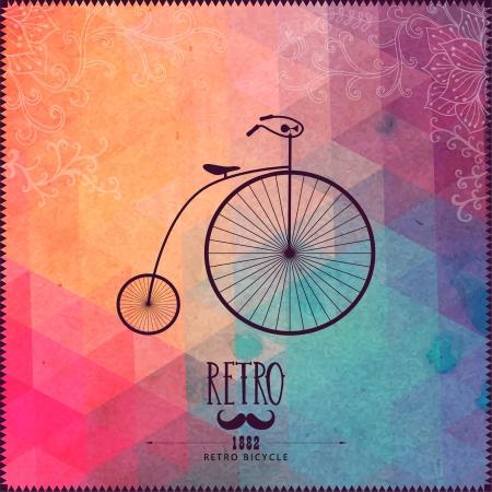 Bicicleta retro en el fondo inconformista hecha de triángulos con el papel del grunge. Fondo retro con adornos florales y formas geométricas.