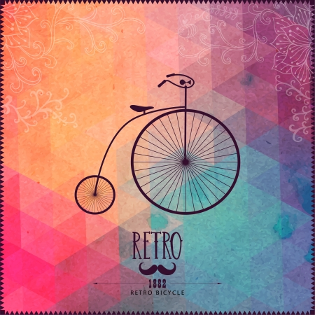 Retro bicycle on hipster background made of triangles with grunge paper. Retro background with floral ornament and geometric shapes. Vector