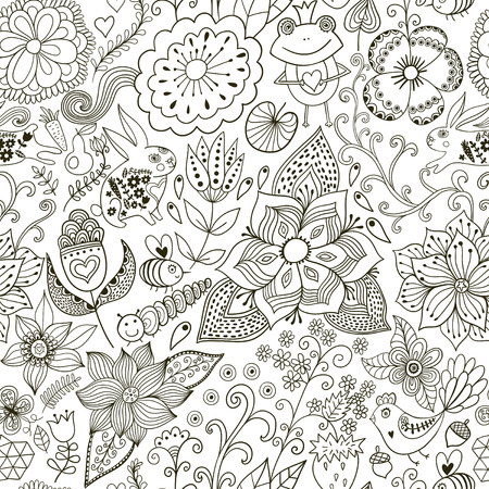 springe: Romantic doodle floral texture. Copy that square to the side and youll get seamlessly tiling pattern which gives the resulting image the ability to be repeated or tiled without visible seams.