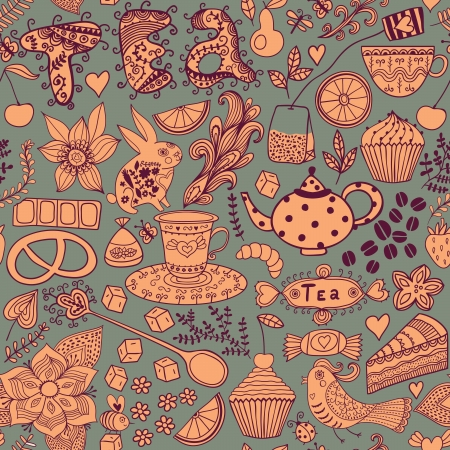 Tea,sweets seamless doodle pattern. Copy that square to the side and you'll get seamlessly tiling pattern which gives the resulting image the ability to be repeated or tiled without visible seams. Stock Vector - 25377735