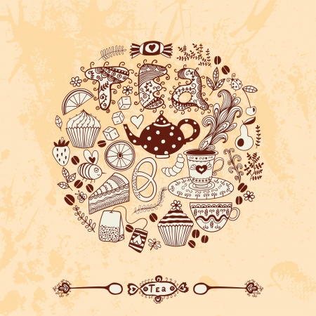 Vector illustration of circle made of sweets. Round shape made of candy, sweets, tea lettering and tea things. Vintage background. Bright summer outlines made from tea things. Let's tea! Vector