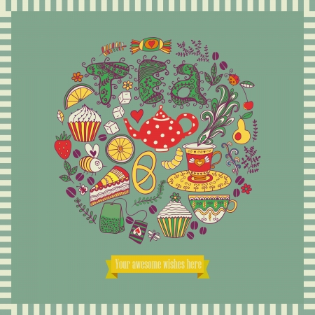 Vector illustration of circle made of sweets. Round shape made of candy, sweets, tea lettering and tea things. Vintage background. Bright summer outlines made from tea things. Let's tea! Stock Vector - 25377789