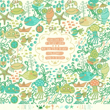 Sea live template design, vector set. Sea time card with sea wildlife, place your text inside the label. Funny ornament made of fish, crab, octopus, submarine, sea weed. See the palette down the image Vector