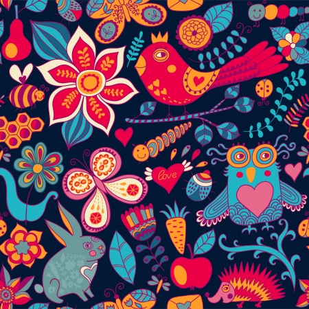 Vector forest seamless pattern. Floral background.Owl, rabbit, butterfly, hedgehog. Use it as pattern fills, web page background, surface textures, fabric or paper, backdrop design. Summer template. Vector