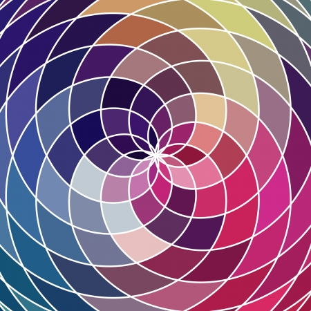 circle shape: Mosaic spectrum color wheel made of geometric shapes. Rainbow color spectrum background. Square composition with geometric color flow effect.