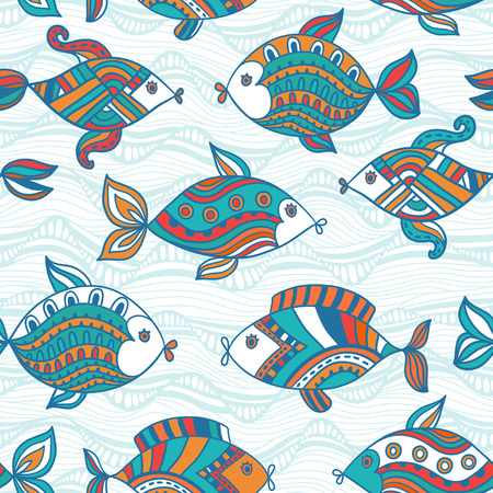 outline drawing of fish: Fish pattern in abstract style. Copy square to the side and youll get seamlessly tiling pattern which gives the resulting image ability to be repeated or tiled without visible seams.