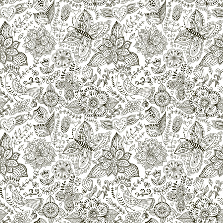 Romantic doodle floral texture. Copy that square to the side and youll get seamlessly tiling pattern which gives the resulting image the ability to be repeated or tiled without visible seams.