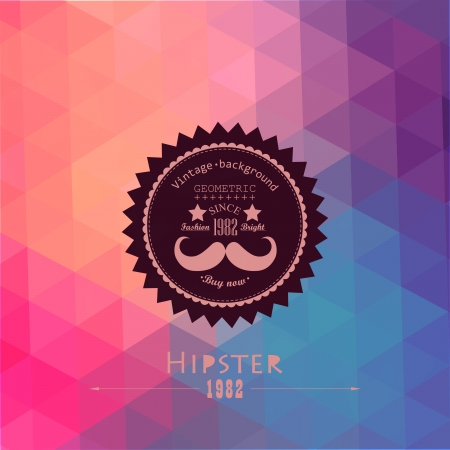 geometric patterns: Hipster background made of triangles. Retro label design. Square composition with geometric shapes, color flow effect. Hipster theme label. Mustache