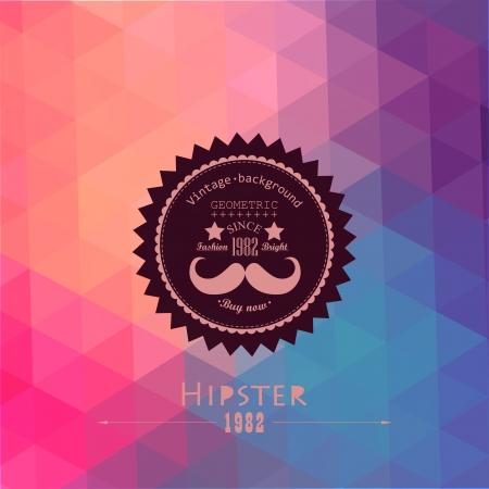 muster: Hipster Hintergrund der Dreiecken. Retro-Label-Design. Quadratische Komposition mit geometrischen Formen, Farben fließen Wirkung. Thema Hipster-Label. Schnurrbart