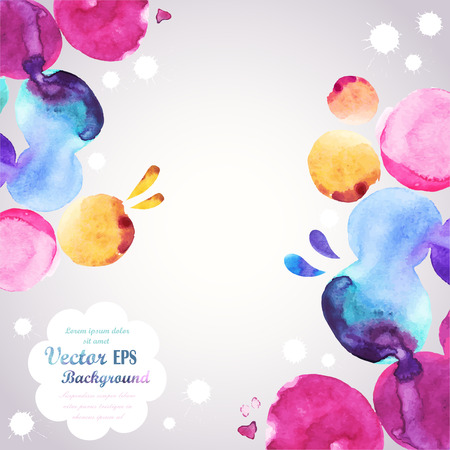 colors: Abstract hand drawn watercolor background,vector illustration, stain watercolors colors wet on wet paper. Watercolor composition for scrapbook elements Illustration