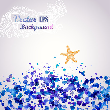 Sea theme watercolor background,vector illustration, stain watercolors colors wet on wet paper. Watercolor composition for scrapbook elements, maritime, starfish Vector