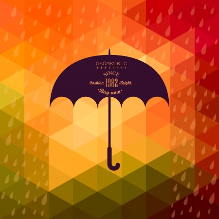 autumn background: Retro umbrella symbol on hipster background made of triangles Retro background with rain pattern and geometric shapes.Label design. Square composition with geometric shapes, color flow effect.