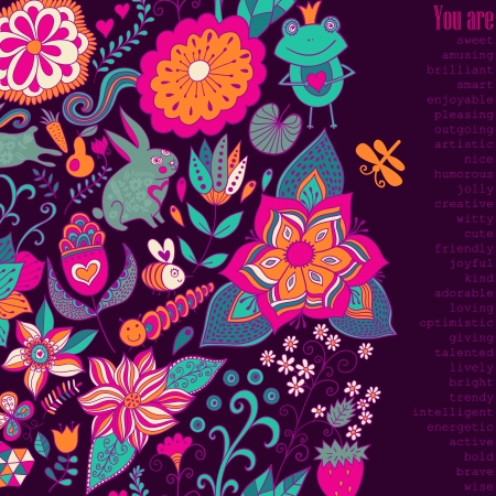 notebook cover: Romantic doodle floral card with nice wishes, also you can place your text. You can design notebook cover, invitation and so on. Valentines day background,wedding invitation.