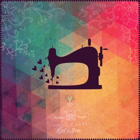 sewing pattern: Old sewing machine on hipster background made of triangles with grunge paper. Retro background with floral ornament and geometric shapes.Retro label design. Color flow effect. Hipster theme label.