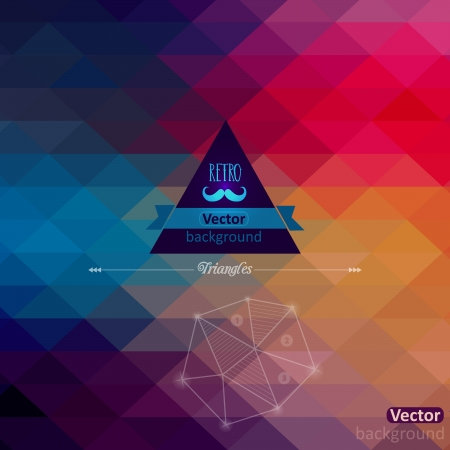 Triangle seamless background. Retro label design. Infographics composition with geometric shapes.Pattern on the back is complete. Vector file has few layers for easy using. Stock Vector - 25378456