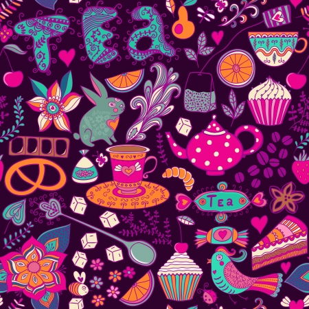 teatime: Tea,sweets seamless doodle pattern. Copy that square to the side and youll get seamlessly tiling pattern which gives the resulting image the ability to be repeated or tiled without visible seams. Illustration