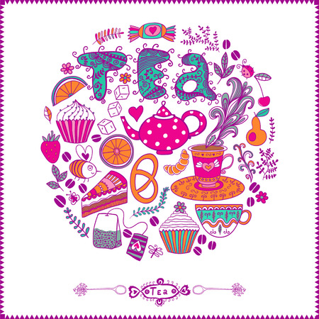 Vector illustration of circle made of sweets. Round shape made of candy, sweets, tea lettering and tea things. Vintage background. Bright summer outlines made from tea things. Lets tea! Vector