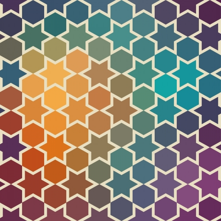 Background of repeating geometric stars. Spectrum geometric background. Retro hipster color spectrum background. Square composition with geometric color flow effect. Illustration