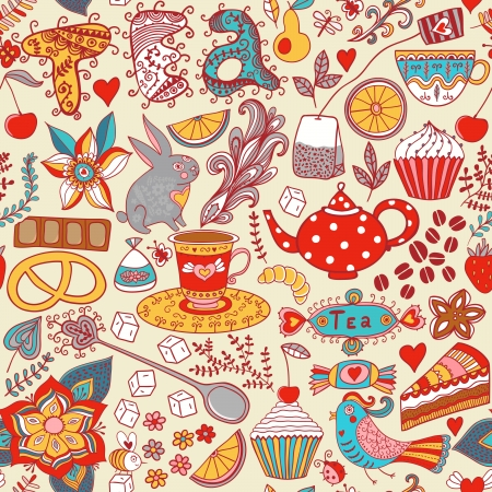 Tea,sweets seamless doodle pattern. Copy that square to the side and youll get seamlessly tiling pattern which gives the resulting image the ability to be repeated or tiled without visible seams. Ilustração