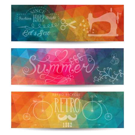 Grunge vector banner. Abstract header vector background. Triangle seamless banners. Retro label design. Geometric shapes. You can place your message above triangles rectangle. Grunge. Vector
