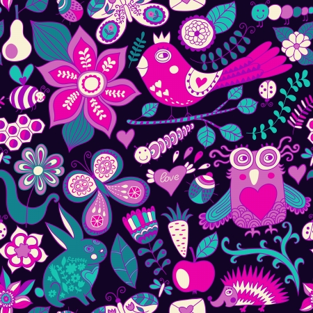 Vector forest seamless pattern. Floral background.Owl, rabbit, butterfly, hedgehog. Use it as pattern fills, web page background, surface textures, fabric or paper, backdrop design. Summer template.