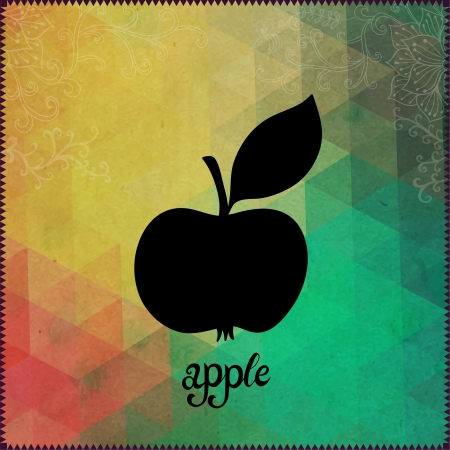 Apple silhouette on hipster background made of triangles with grunge paper. Retro background with floral ornament and geometric shapes.Black Silhouette.Vector Illustration. Label. Lettering Apple Vector