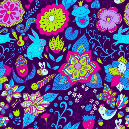 springe: Vector romantic doodle floral texture. Copy that square to the side and youll get seamlessly tiling pattern which gives the resulting image the ability to be repeated or tiled without visible seams. Illustration