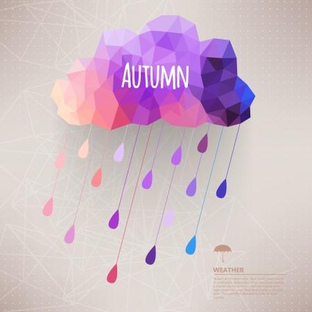 meteo: Cloud retrò con sfondo simbolo pioggia hipster, fatta di triangoli Retro background con il disegno goccia di pioggia pattern.Label. Piazza composizione con geometrica shapes.Weather sfondo. Modello di autunno.