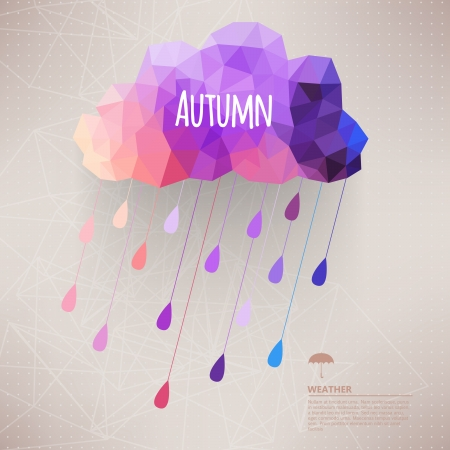 autumn fashion: Retro cloud with rain symbol hipster background made of triangles Retro background with rain drop pattern.Label design. Square composition with geometric shapes.Weather backdrop. Autumn template.