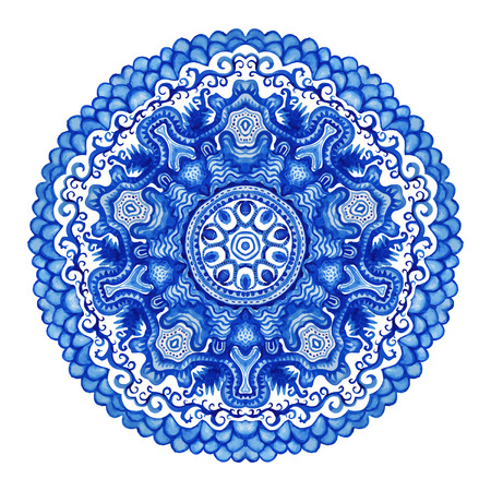 Watercolor vector gzhel. Doily round lace pattern, circle background with many details, looks like crocheting handmade lace, lacy arabesque designs.Orient traditional ornament. Oriental motif Vector